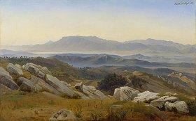 Johann Wilhelm Schirmer: Italienische Landschaft - Blick gegen Süden von der Serpentera über das Saccotal auf die Volskerberge mit dem Monte della Pera, in der Mitte Paliano, rechts Olevano