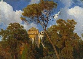 Johann Wilhelm Schirmer: Bei Tivoli - Im Park der Villa d'Este mit der Kirche La Caritá