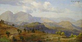Johann Wilhelm Schirmer: Bei Civitella - Blick gegen Norden auf die Mammellen mit Rocca Santo Stefano, Rocca di Mezzo und Rocca Canterano, nordöstlich von Civitella aus