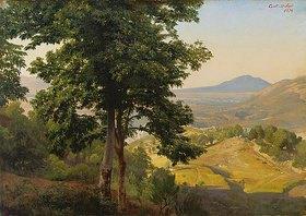 Johann Wilhelm Schirmer: Italienische Landschaft - Blick gegen Süden von der Serpentera auf die Albanerberge mit dem Monte Artemisio, vorne Esskastanien