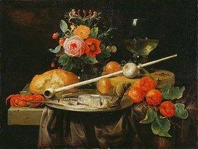 Joris van Son: Stillleben mit Blumenvase, Früchten, Hering und Pfeife