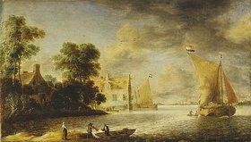 Bonaventura Peeters I.: Küstenlandschaft mit Bauern-, Fährhaus und Segelbooten. Vor