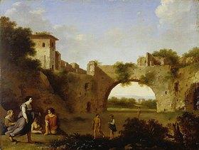 Cornelis van Poelenburgh: Südliche Landschaft mit Stadtmauer und Torbogen