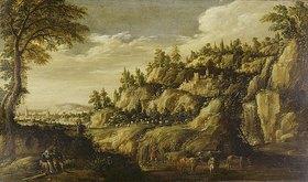 Marten Ryckaert: Gebirgige Landschaft mit Stadt und rastendem Paar