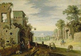 Marten Ryckaert: Landschaft mit Ruinen und Blick auf eine Stadt