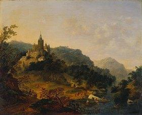 Jan Griffier d. Ä.: Bergige Flusslandschaft mit Schloss und Fischerbooten