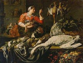 Adriaen van Utrecht: Christus im Haus von Maria und Martha mit einer Magd bei einem Stillleben mit Jagdbeute, Früchten und Gemüse. 1. Hälfte 17. Jh