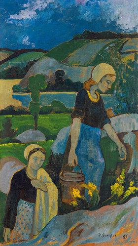 Paul Serusier: Junge Wäscherinnen, vom Fluß zurück- kehrend