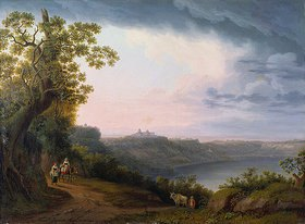Jacob Philipp Hackert: Blick auf den Albaner See mit Castel Gandolfo