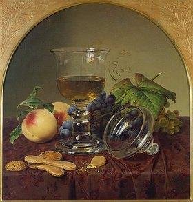 Johann Wilhelm Preyer: Stillleben mit Deckelpokal, Früchten und Biskuit