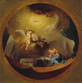 Januarius Zick: Verkündigung Mariae - Entwurf für ein Fresko in dem ehemaligen Benediktinerkloster St. Peter und Paul in Oberelchingen