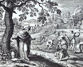 Matthäus Merian d.Ä.: Ruth bei der Ährenlese auf den Feldern des Boas