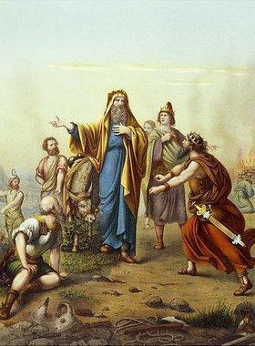 Prophet Bileam und Moabiterkönig Balak (Allioli Bibel, 19. Jh.)