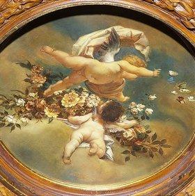 Ernst Klimt: Putten mit Blüten und Schmetterlingen. 19. Jahrhundert