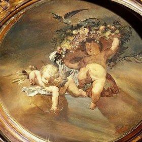 Ernst Klimt: Putten wit Blüten und Vogel. 19. Jahrhundert