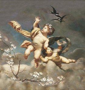 Ernst Klimt: Putten mit Blüten und Schwalben. 19. Jahrhundert