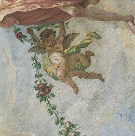 Johann Baptist Enderle: Putten mit Blumengirlande (Detail eines Deckengemäldes)
