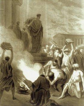 Gustave Doré: Der heilige Paulus auf Ephesus. Die Verbrennung von Hexen- und Zauberbüchern