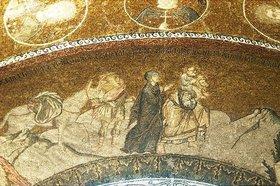 Byzantinisch: Die Flucht nach Ägypten. Der heilige Josef trägt das Jesuskind