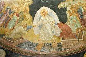 Byzantinisch: Christus befreit Adam und Eva und damit die Menschheit aus der Vorhölle. Wohl