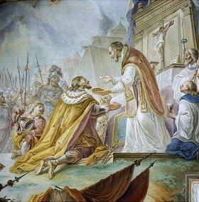 Johann Baptist Enderle: St. Ulrich spendet Otto dem Großen vor der Schlacht am Lechfeld die Sakramente (Detail aus einem Deckenfresco)
