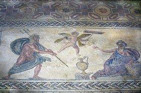 Griechisch: Poseidon und Amymone. Um 200 n.Chr