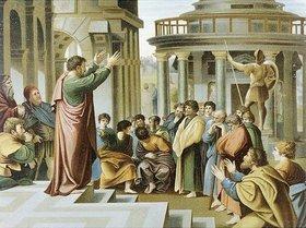 Raffael (Raffaello Sanzio): Allioli-Bibel um 1900 Paulus predigt in Athen