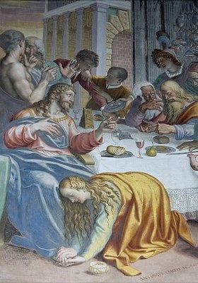 Unbekannter Künstler: Maria Magdalena salbt die Füsse Christis