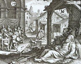 Matthäus Merian d.Ä.: Tobias Tobit begräbt die Toten und erblindet