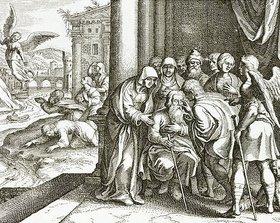 Matthäus Merian d.Ä.: Die Rückkehr des Tobias Tobit und Heilung seines Vaters durch Fischgalle