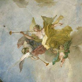 Johann Baptist Enderle: Engel mit Fanfaren (Detail aus einem Deckenfresco)