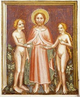Unbekannter Künstler: Gott führt Adam und Eva ins Paradies