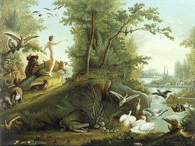 Johann Elias Ridinger: Adam im Paradies