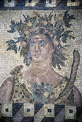 Griechisch: Der Frühling. Fußbodenmosaik. Um 200 n.Chr