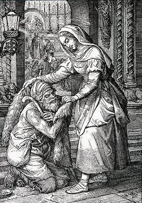 Unbekannter Künstler: Die hl. Zita von Monsagrati betreut als Dienstmagd Arme und Kranke