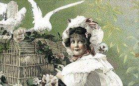 Unbekannter Künstler: Mädchen mit weißen Tauben. Postkarte