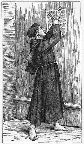 Unbekannter Künstler: Martin Luther schlägt seine Thesen an die Tür der Schlosskirche von Wittenberg