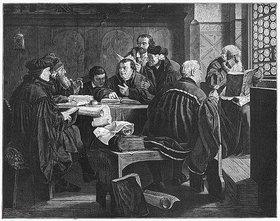 Anonym: Martin Luther übersetzt auf der Wartburg vor Freunden die Bibel