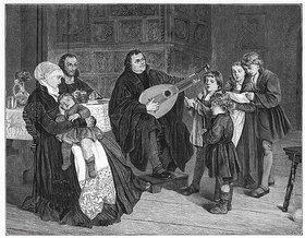 Anonym: Martin Luther mit seiner Familie