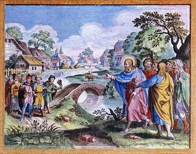 Unbekannter Künstler: Christus heilt zehn Aussätzige. (Neues Testament, Strassburg 1630)