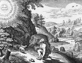 Matthäus Merian d.Ä.: Moses und der brennende Dornbusch