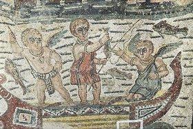 Unbekannter Künstler: Fischende Putten in Boot. Mosaikfußboden