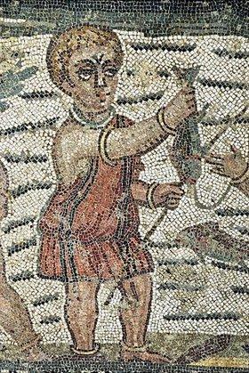 Unbekannter Künstler: Fischer. Mosaikfußboden