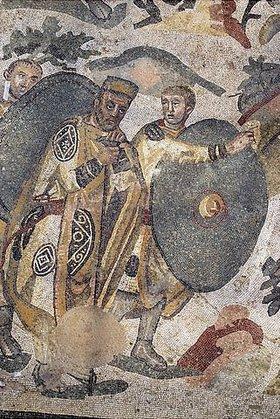 Unbekannter Künstler: Mann mit Begleiter bei der Jagd. Mosaikfußboden