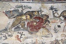 Unbekannter Künstler: Jagdszene. Mosaikfußboden