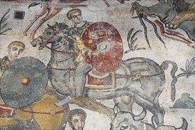 Unbekannter Künstler: Reiter mit Schild. Mosaikfußboden