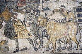 Unbekannter Künstler: Rindergespann. Mosaikfußboden