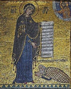 Byzantinisch: Stifterbild. Georg von Antiochia liegt vor der Gottesmutter Maria