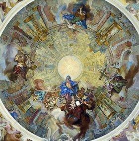 Gottfried Bernhard Göz: Jungfrau Maria mit den Tugenden Furcht, Erkenntnis, Liebe und Hoffnung