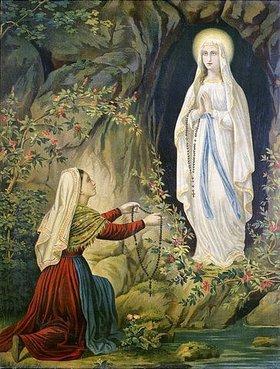 Unbekannter Künstler: Die Jungfrau Maria erscheint Bernadette Soubrious in Lourdes